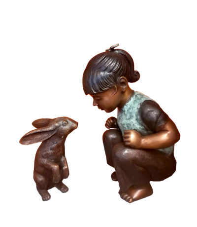 SRB707364 Bronze Girl with Bunny Sculpture Metropolitan Galleries Inc.