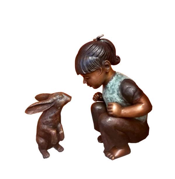 SRB707364 Bronze Girl with Bunny Sculpture Metropolitan Galleries Inc.