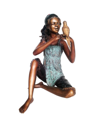 SRB707365 Bronze Girl holding Bird Sculpture Metropolitan Galleries Inc.