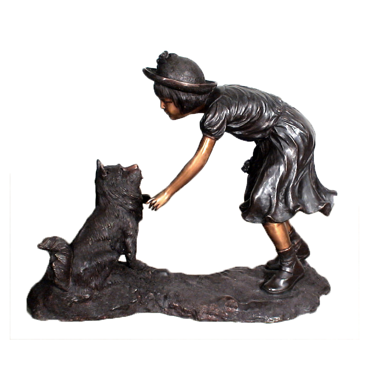 SRB10067 Bronze Girl with Dog Sculpture Metropolitan Galleries Inc.