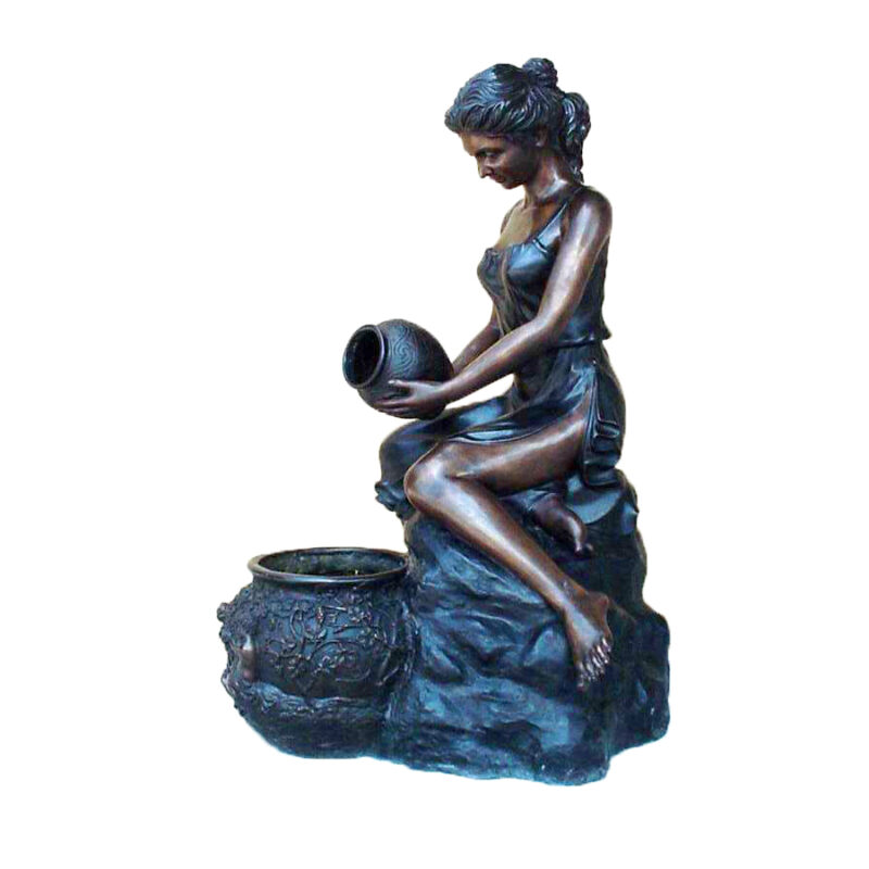 SRB25297 Bronze Lady with Vase Fountain Sculpture Metropolitan Galleries Inc.