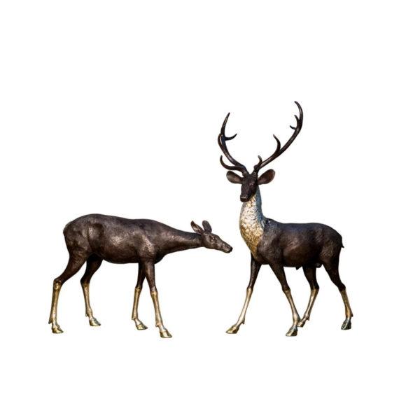 SRB043992-93 Bronze Deer & Doe Sculpture Set Metropolitan Galleries Inc.