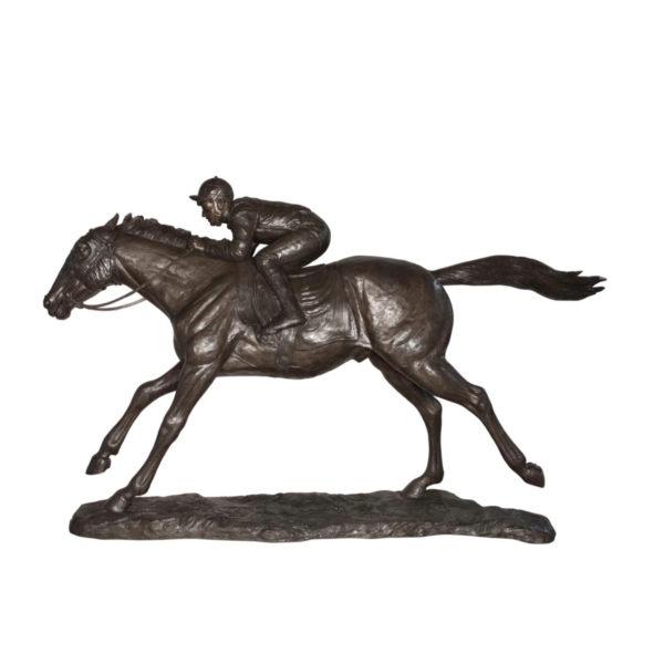SRB047198 Bronze Jockey riding Horse Sculpture Metropolitan Galleries Inc.