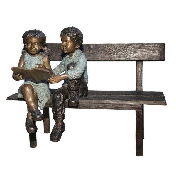 SRB050397 Bronze Two Kids Reading on Bench Sculpture Metropolitan Galleries Inc.