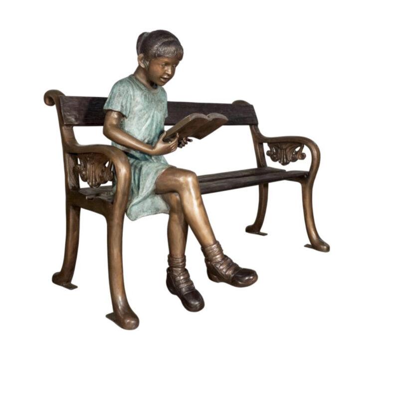 SRB050655 Bronze Girl Reading on Bench Sculpture Metropolitan Galleries Inc.