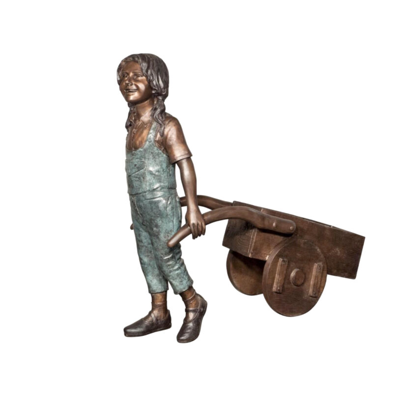 SRB058700 Bronze Girl pulling Wheelbarrow Sculpture Metropolitan Galleries Inc.