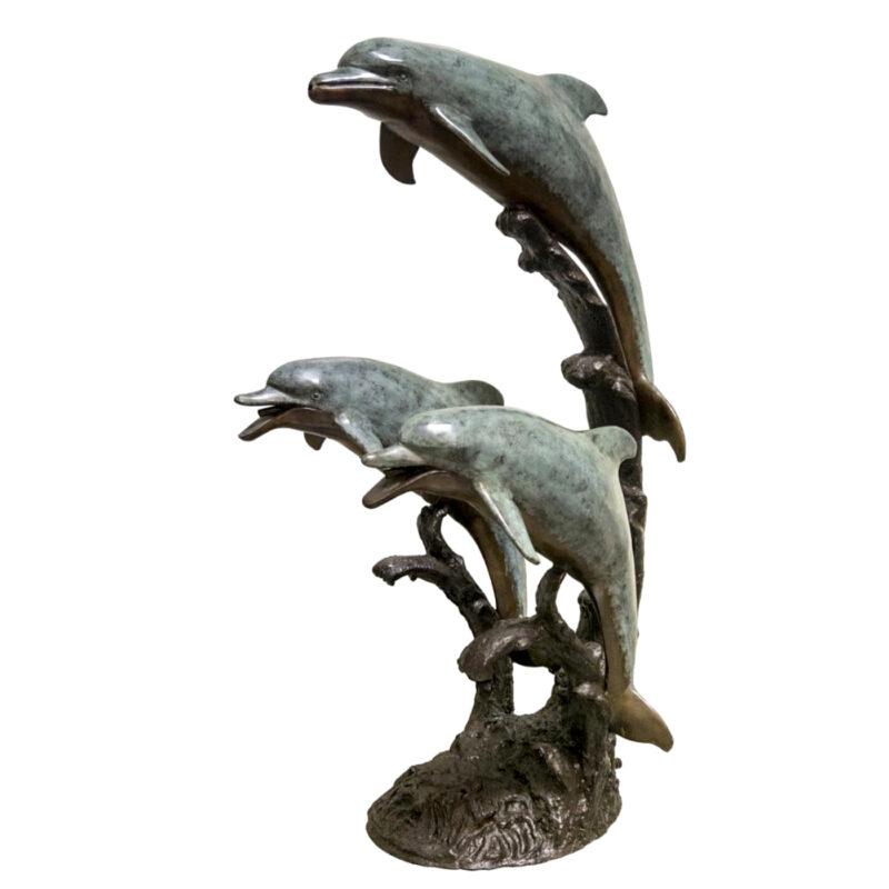 SRB058770 Bronze Three Dolphins on Wave Fountain Sculpture Metropolitan Galleries Inc.