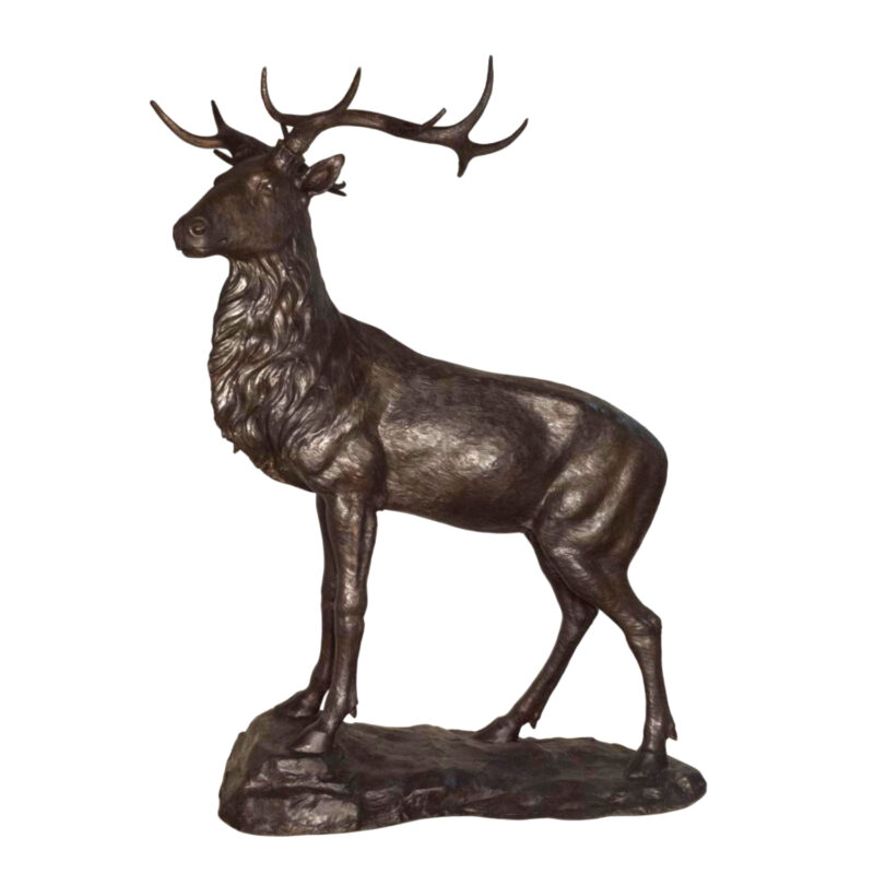 SRB058772 Bronze Deer on Rock Sculpture Metropolitan Galleries Inc.