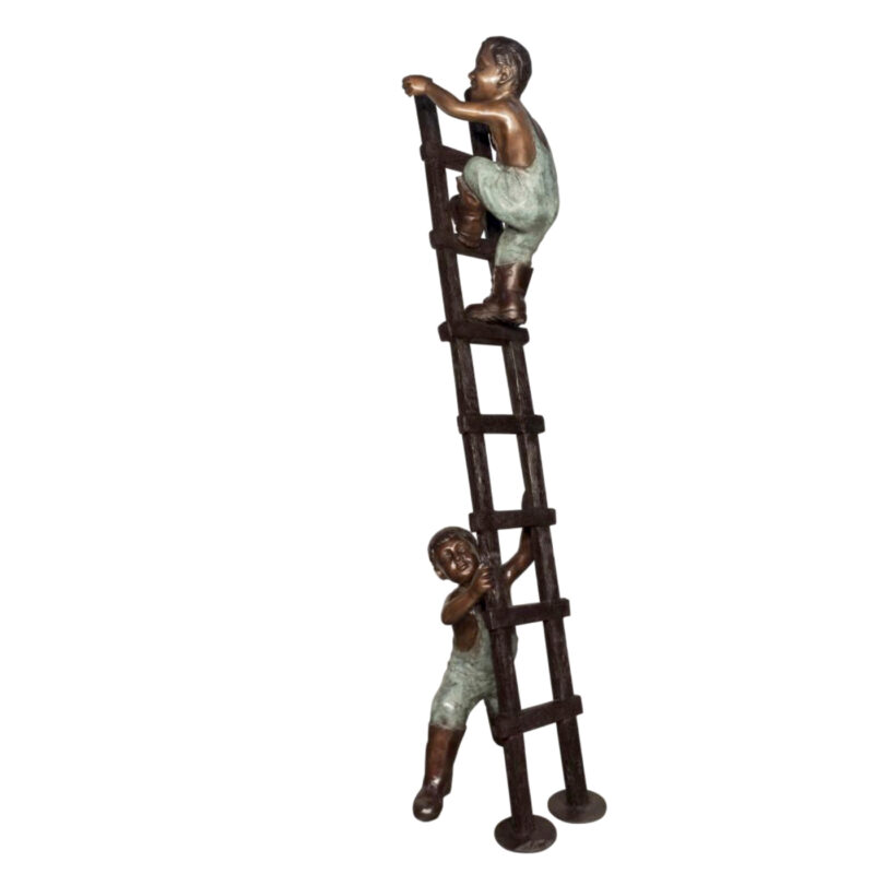 SRB078043 Bronze Kids Climbing Ladder Sculpture Metropolitan Galleries Inc.