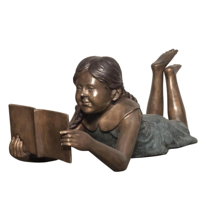 SRB088168 Bronze Girl Reading Book Sculpture Metropolitan Galleries Inc.