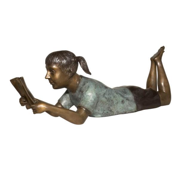 SRB089030 Bronze Girl Reading Book Sculpture Metropolitan Galleries Inc.