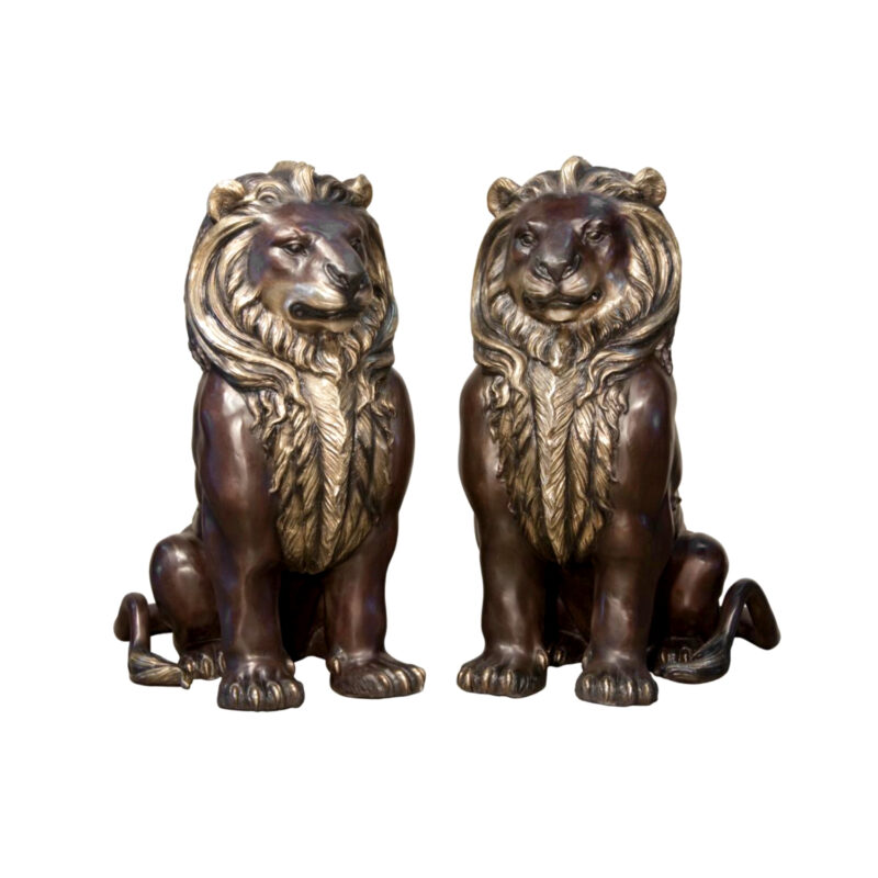 SRB094400R&L Bronze Sitting Lion Sculpture Set Metropolitan Galleries Inc.