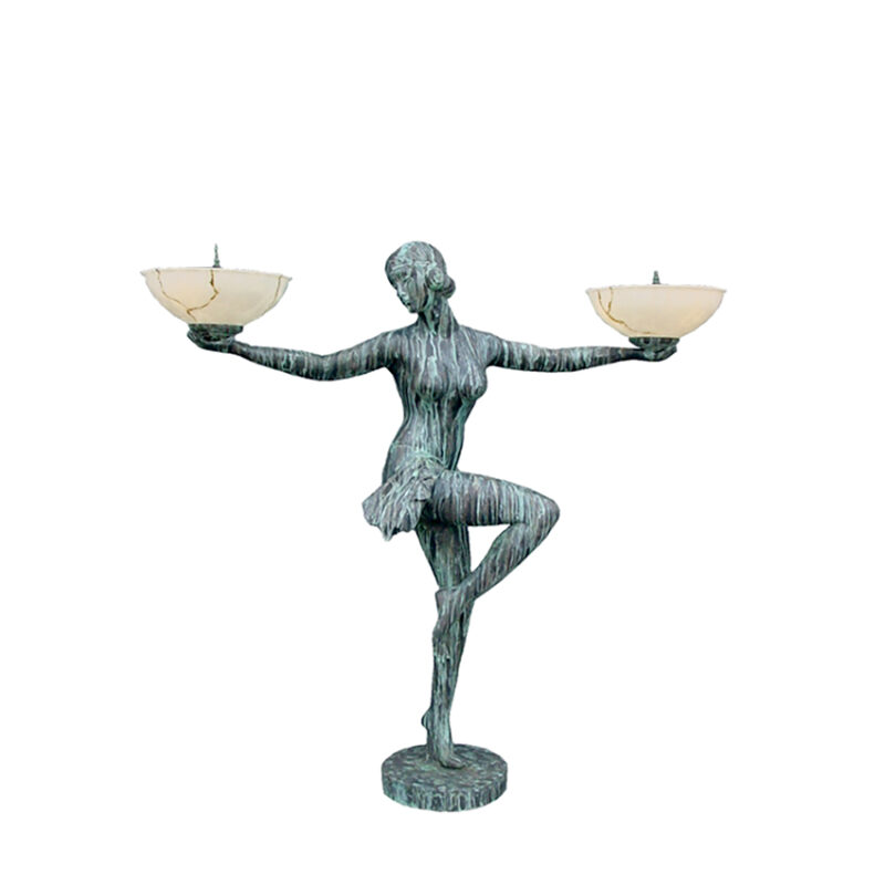 SRB83149 Bronze Art Deco Nude Lady Dancer Torchiere Sculpture by Metropolitan Galleries Inc