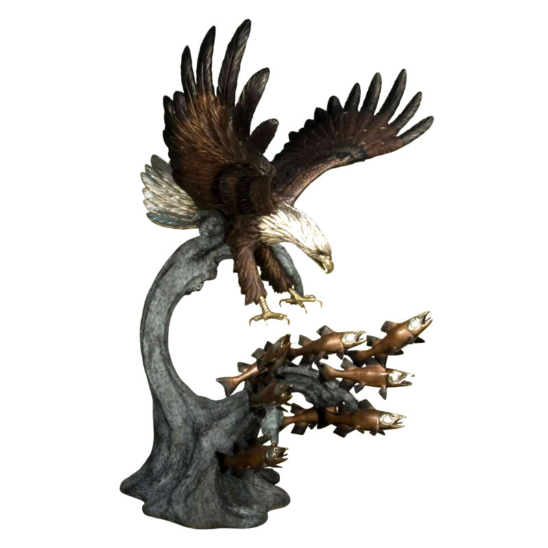 SRB081149 Bronze Eagle catching Fish Sculpture Metropolitan Galleries Inc.