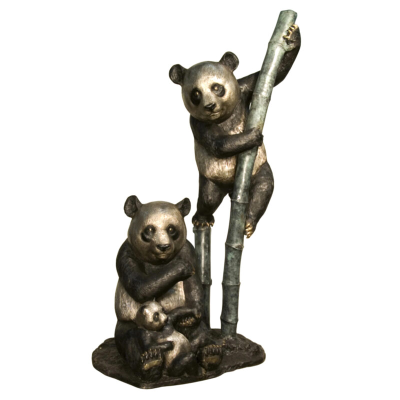 SRB094100 Bronze Panda Bears on Bamboo Sculpture Metropolitan Galleries Inc.
