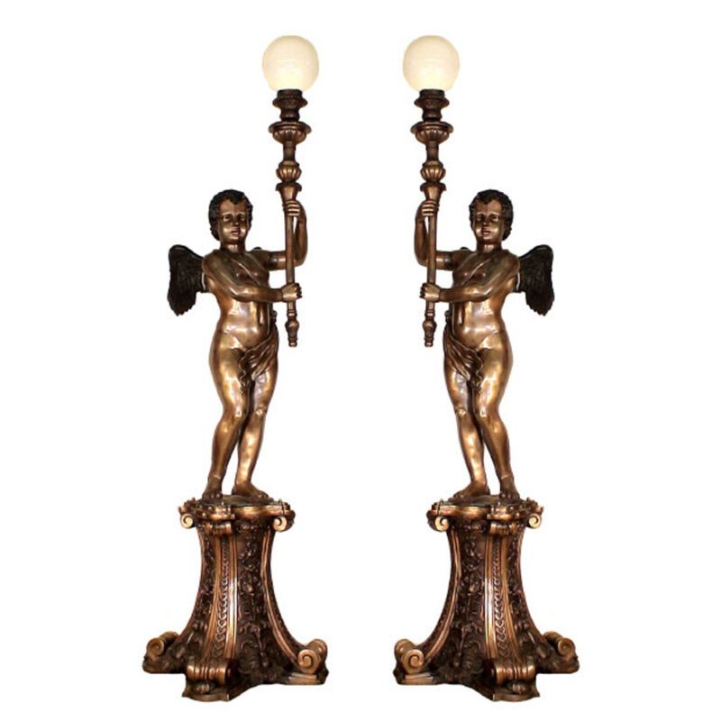SRB30197 Bronze Massive Cupid Torchere Pair Metropolitan Galleries Inc.