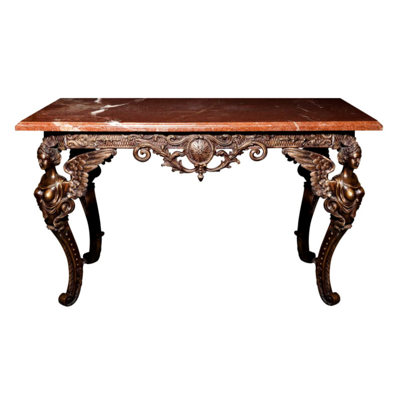SRB54049 Bronze Satyr Console Table & Marble Surface Metropolitan Galleries Inc.