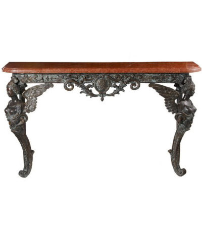 SRB54049A Bronze Satyr Half Table & Marble Surface Metropolitan Galleries Inc