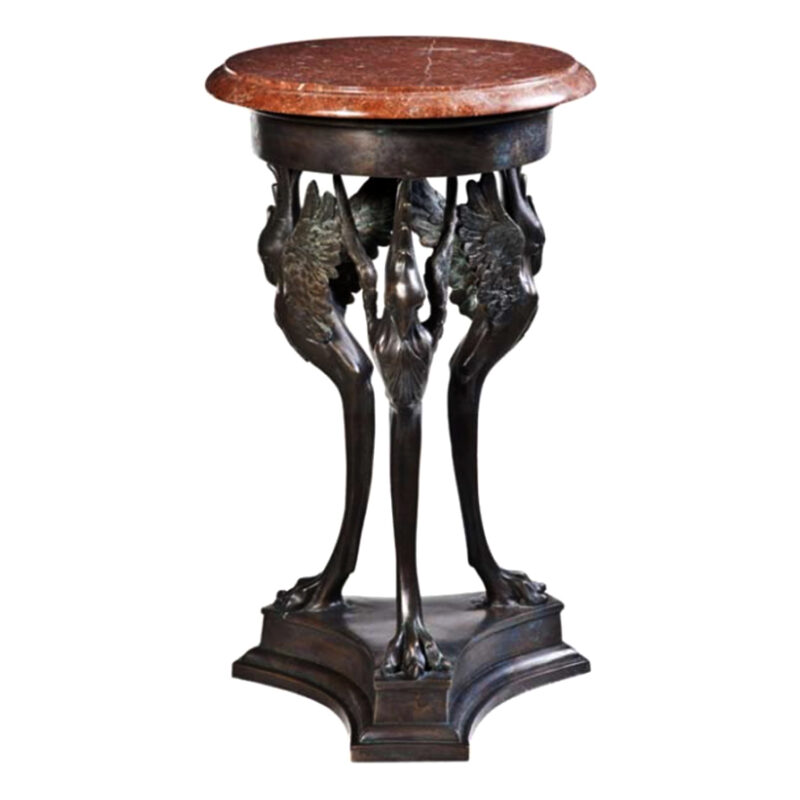 SRB88065 Bronze Winged Bird Table & Marble Surface Metropolitan Galleries Inc.