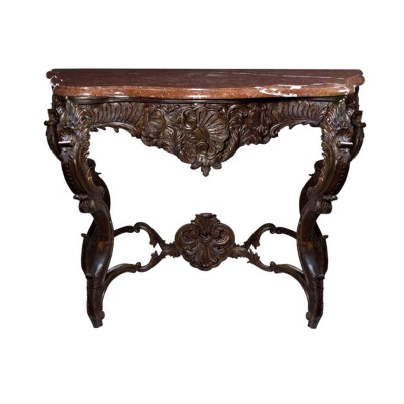 SRB88098 Bronze Console Table & Bordeaux Marble Surface Metropolitan Galleries Inc.