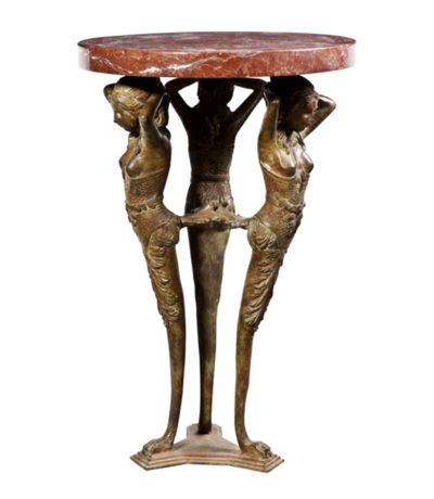 SRB88155 Bronze Egyptian Table + Marble Surface Metropolitan Galleries Inc.