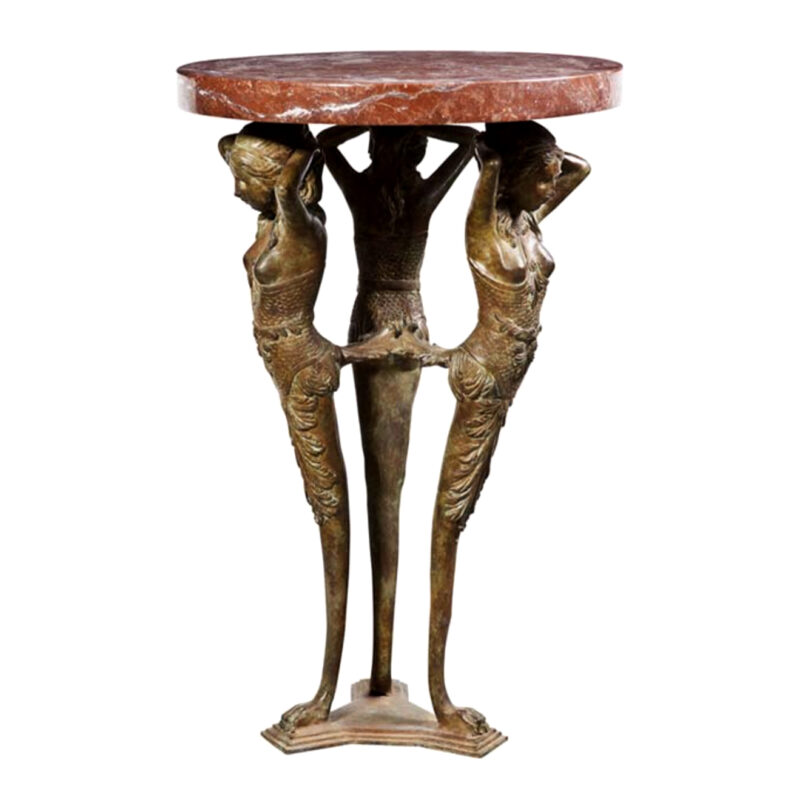 SRB88155 Bronze Egyptian Table + Marble Surface Metropolitan Galleries Inc.