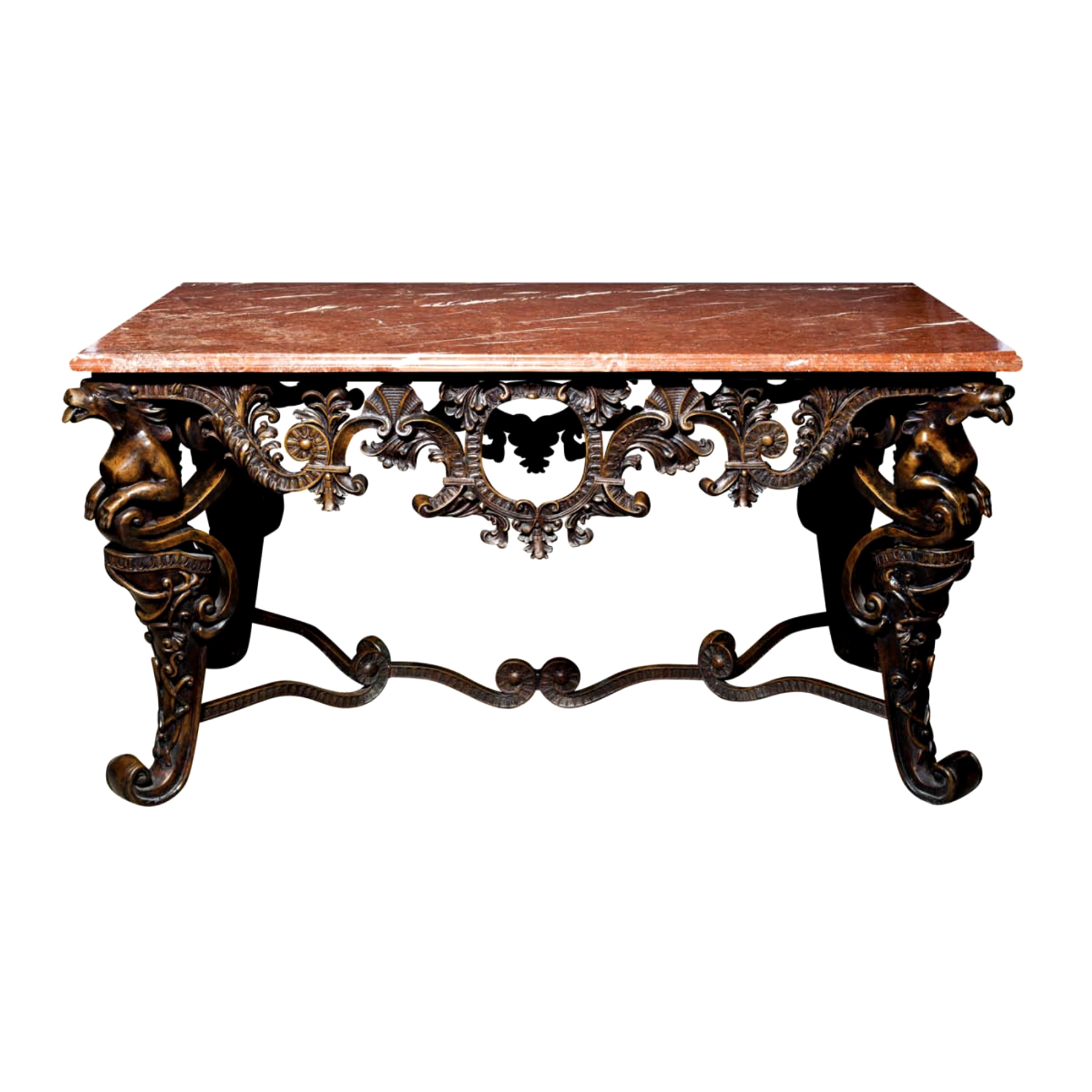 Srb88199 Bronze Console Table Marble Surface Metropolitan Galleries Inc