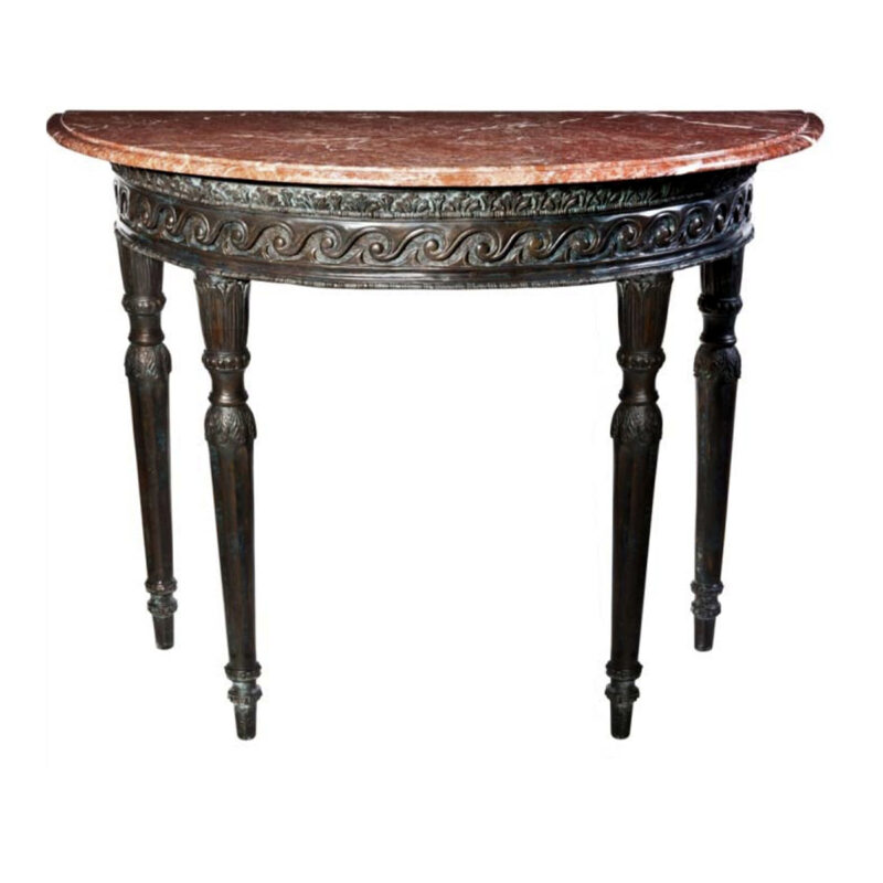 SRB88214 Bronze Ornate Moon Table & Marble Surface Metropolitan Galleries Inc.