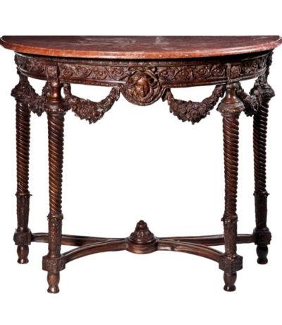 SRB88218 Bronze Floral Console Table & Marble Surface Metropolitan Galleries Inc.