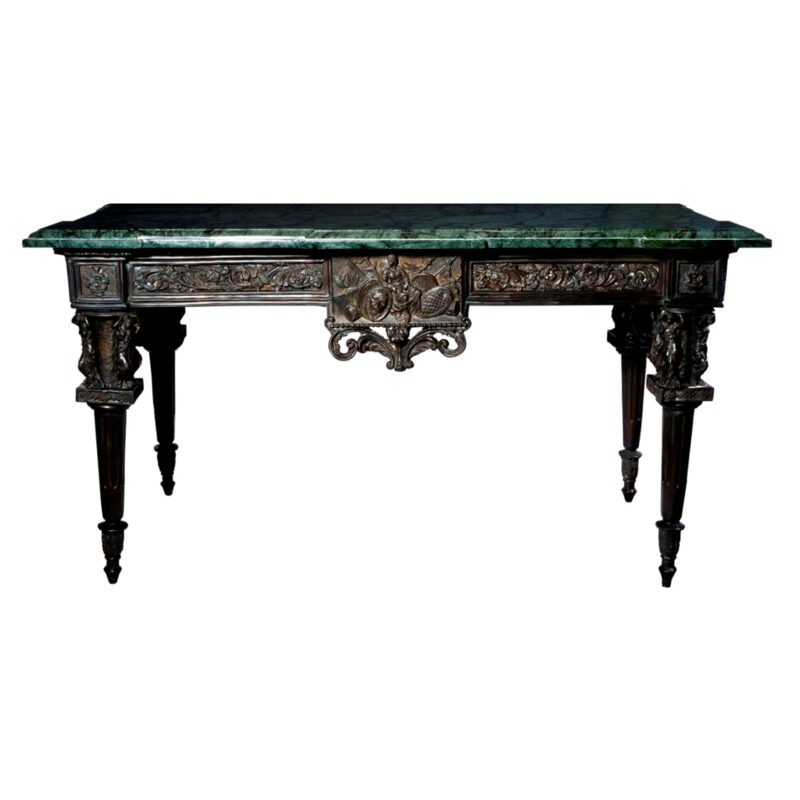 SRB88226 Bronze Console Table & Marble Surface Metropolitan Galleries Inc.