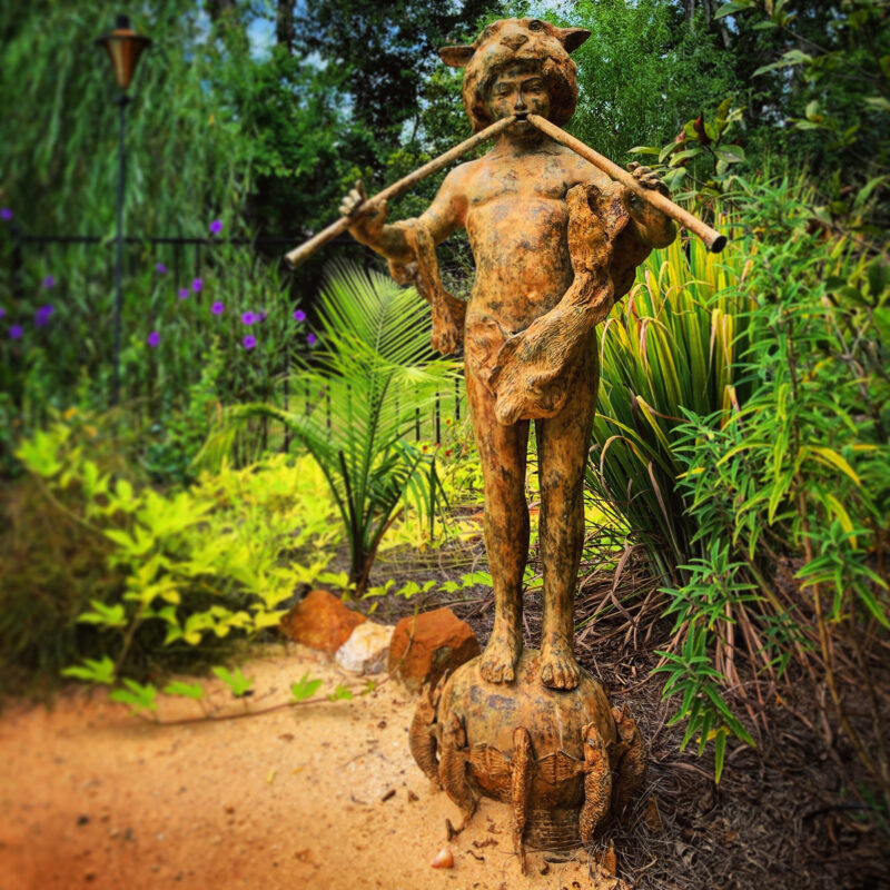 SRB991628 Bronze Boy with Pipes on Fish Base Fountain Sculpture in Sandgreen Patina by Metropolitan Galleries Inc