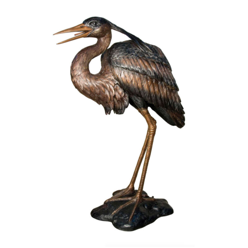SRB081037 Bronze Heron Fountain Sculpture Metropolitan Galleries Inc.