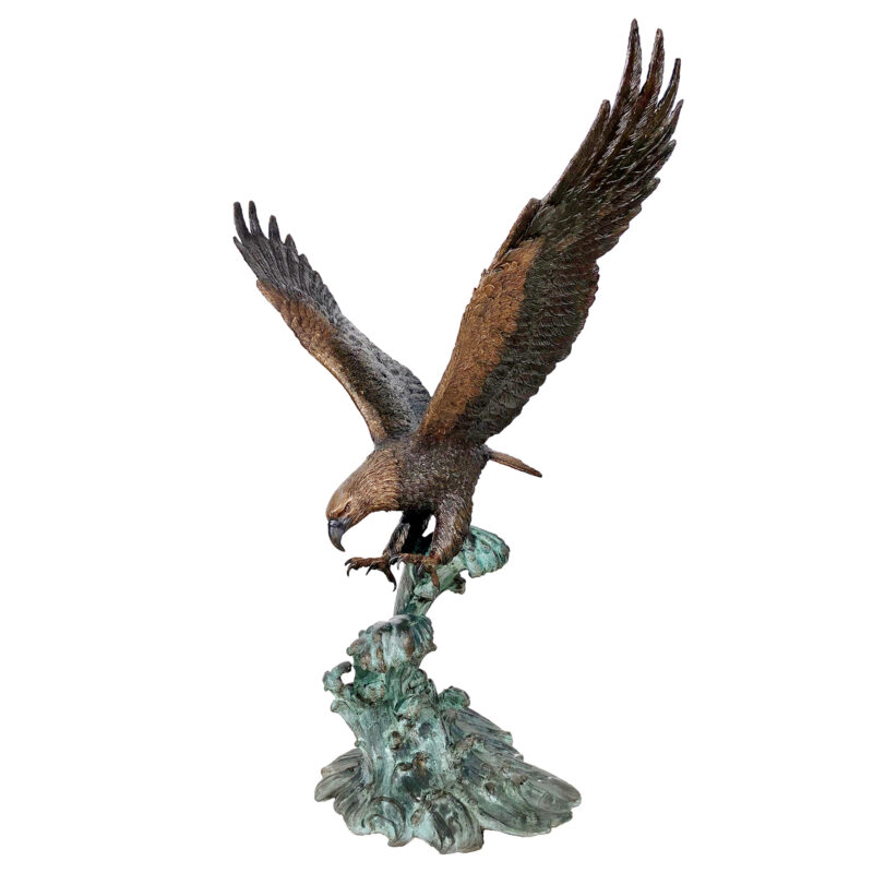 SRB41107 Bronze Eagle on Wave Sculpture Metropolitan Galleries Inc.