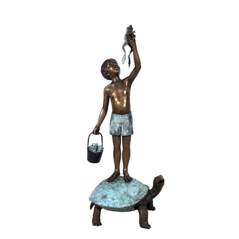 SRB706545 Bronze Boy on Turtle holding Frog Fountain Sculpture by Metropolitan Galleries Inc