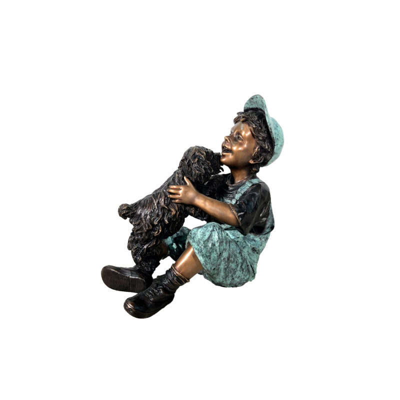SRB706762 Bronze Sitting Boy with Puppy Dog Sculpture by Metropolitan Galleries Inc