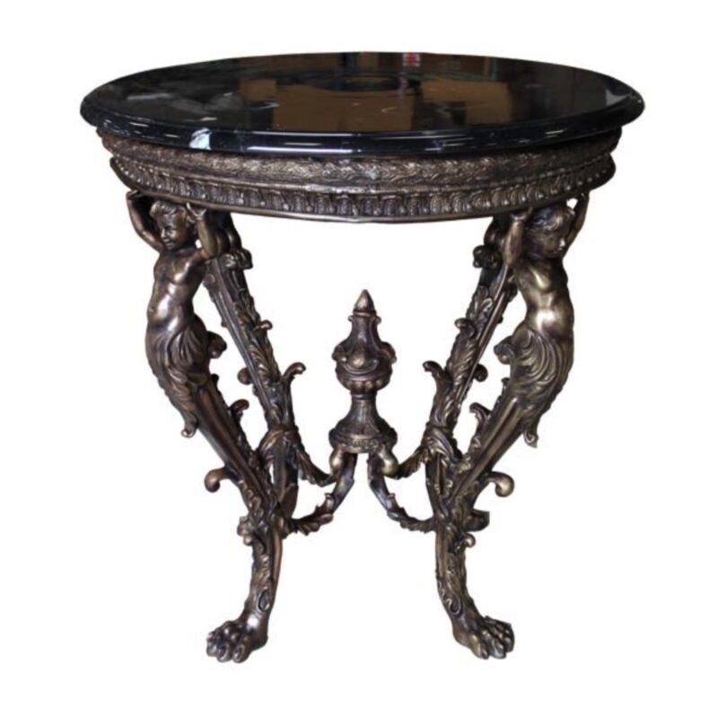SRB88205 Bronze Boy Face Table Base + Marble Surface Metropolitan Galleries Inc.