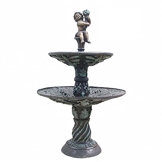 SRB705939 Bronze Boy holding Flower Tier Fountain Metropolitan Galleries Inc