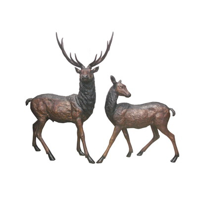 SRB706311TT Bronze Elk & Doe Sculpture Set Metropolitan Galleries Inc.