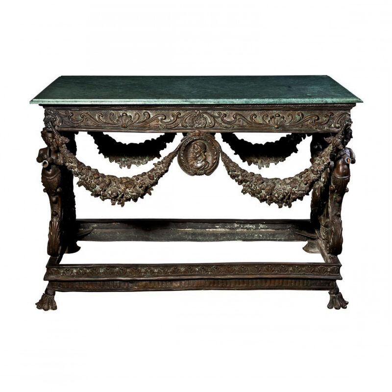 SRB88228 Bronze Garland Console Table + Marble Metropolitan Galleries Inc