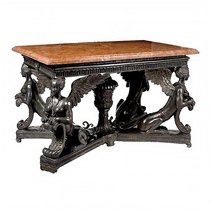 SRB992093 Bronze Sphinx Table Base + Marble Metropolitan Galleries Inc.