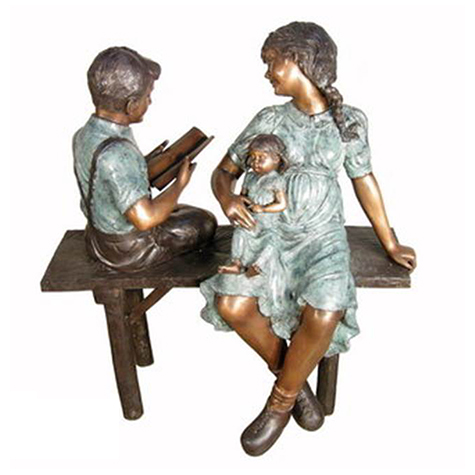 SRB029488 Bronze Mother & Children on Bench Sculpture Metropolitan Galleries Inc