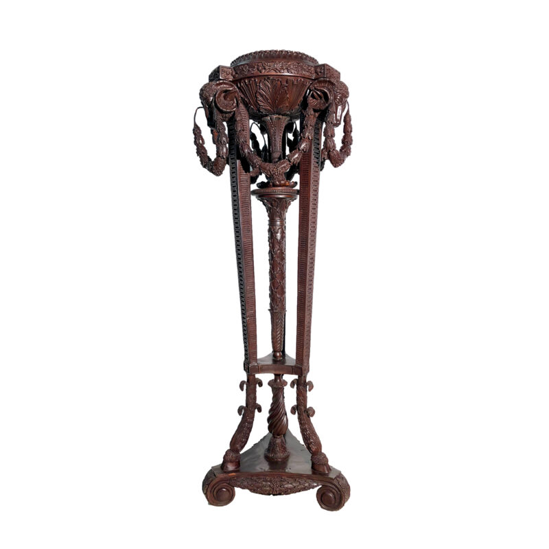 SRB43126 Bronze Rams Head Pedestal Stand Metropolitan Galleries Inc