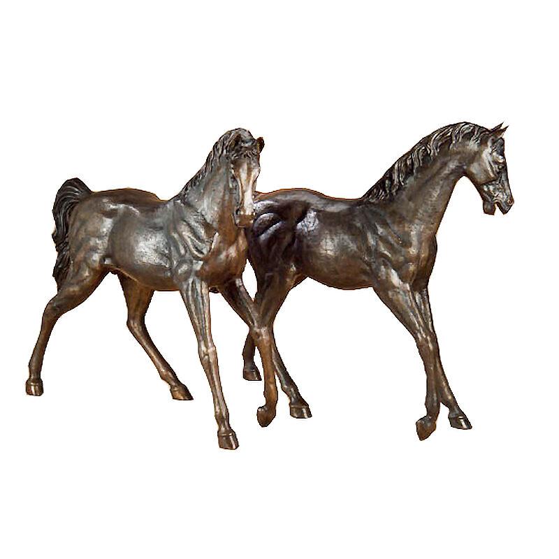 SRB702217 Bronze Walking Horses Sculpture Set Metropolitan Galleries Inc