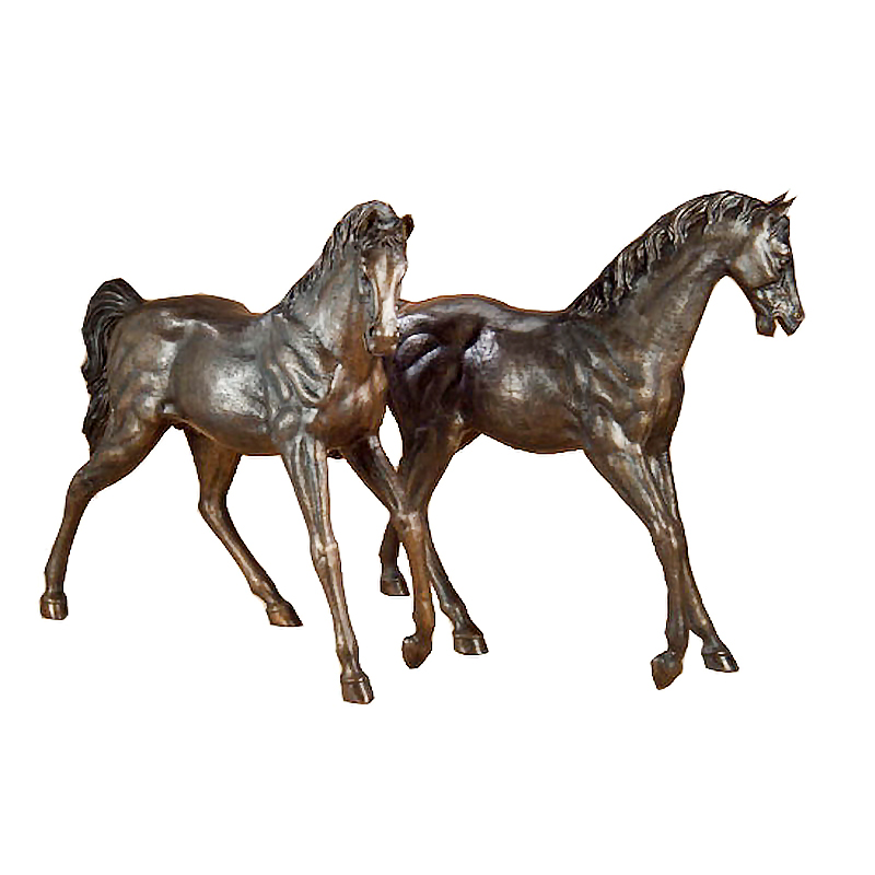SRB702217 Bronze Walking Horses Sculpture Set Metropolitan Galleries Inc