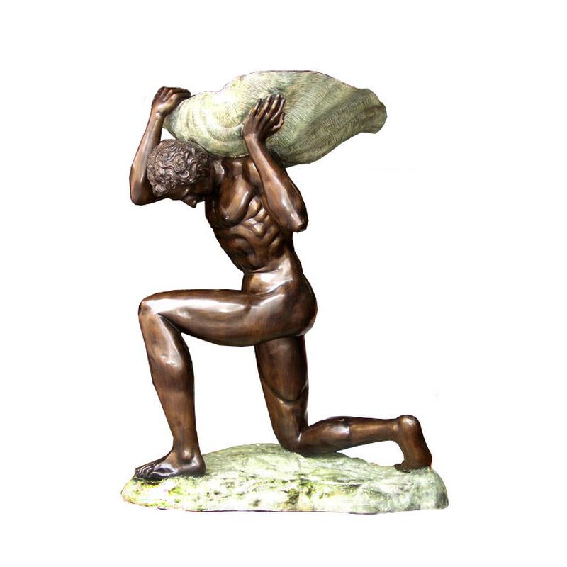 SRB703030 Bronze Man carrying Shell Fountain Sculpture Metropolitan Galleries Inc