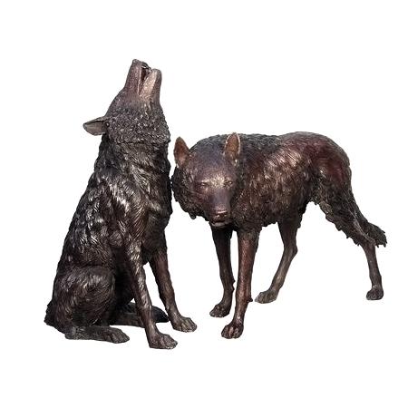 SRB075032-34 Bronze Howling & Standing Wolves Sculpture Set Metropolitan Galleries Inc