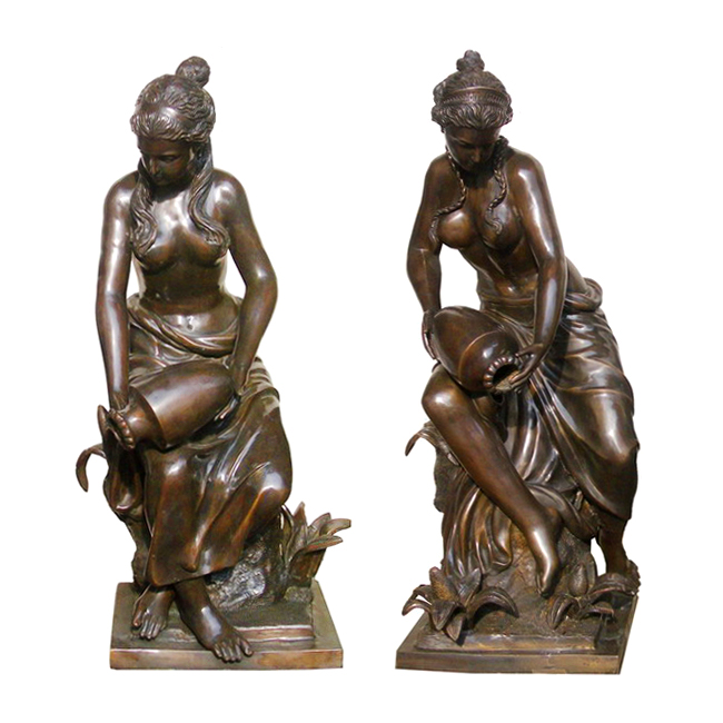 SRB704752 Bronze Woman pouring Jar Fountain Sculpture Pair Metropolitan Galleries Inc