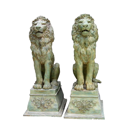 SRB705563 Bronze Sitting Lions on Pedestal Sculpture Pair Metropolitan Galleries Inc