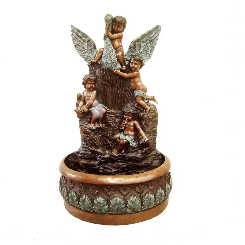 SRB706136 Bronze Children & Swan Wall Fountain Sculpture Metropolitan Galleries Inc