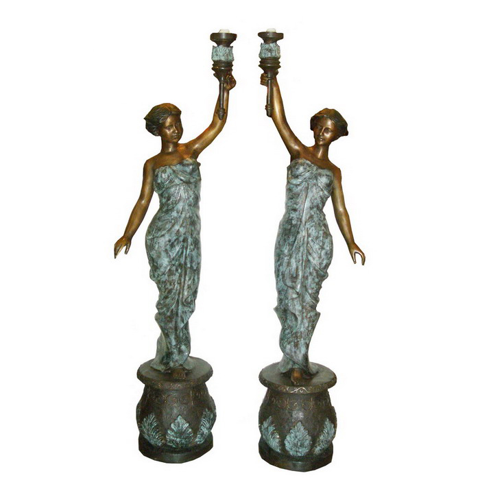 SRB706223 Bronze Lady Torchere Sculpture Set Metropolitan Galleries Inc